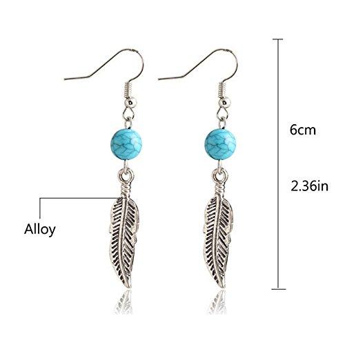 Circular Shape Dangle (Vanvler Turquoise Circular Leaves Dangle Earings Eardrop Jewelry (Silver))