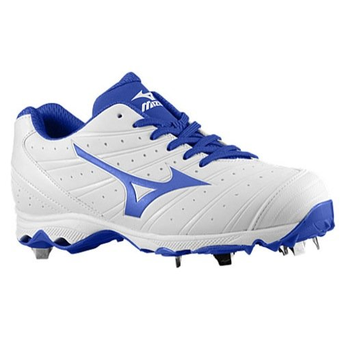 Mizuno Women's 9Spike Advanced Sweep 2 Softball Cleats, White/Royal, SZ (Wave Spike 9 Volleyball Shoes)