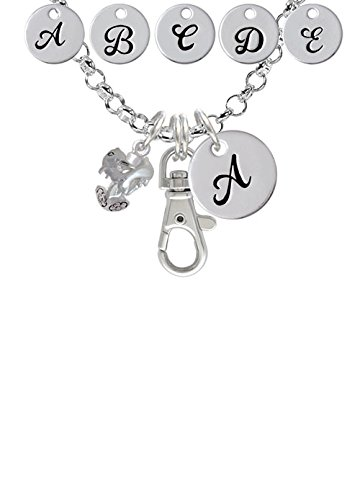 Dolphins Spinner Custom Initial Badge Clip Necklace