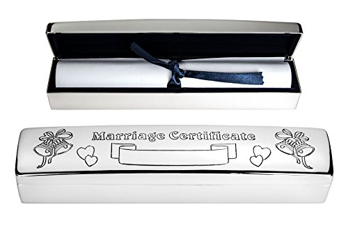 - Personalised Silver Plated Marriage / Wedding Certificate Holder - Engraved With Your Details