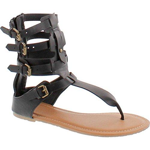 - Wild Diva Tanaya-540 Women's T-Strap Buckle Gladiator Back Zip Flat Thong Sandal,Black,8