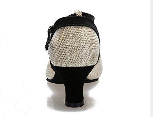 Scarpe Da Ballo Latino Da Donna Colorblock T-strap Missfiona Con Peep-toe 2 Tacco Argento