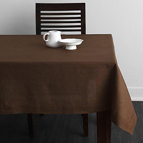 Solino Home Square Linen Tablecloth - 100% European Flax Natural Tablecloth - Athena 60 x 60 Inch Brown - European Tablecloth