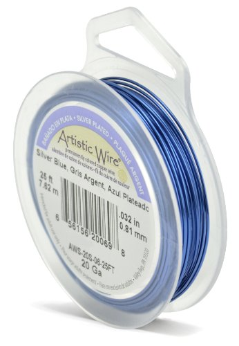 Beadalon Artistic Wire 20-Gauge Silver Plated Silver Blue Coil Wire, 25-Feet
