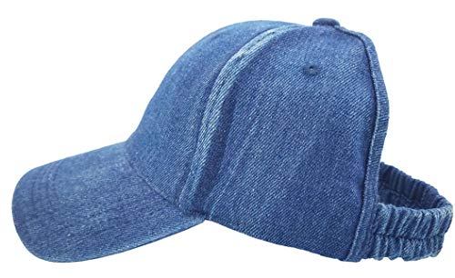 (Backless Ponytail Hats Pony tail Caps Baseball for Women (Denim Blue))