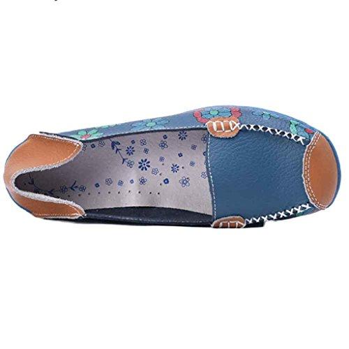Ularma Zapatos de las mujeres de cuero, suaves pisos de ocio floral impresión Casual mocasines Azul