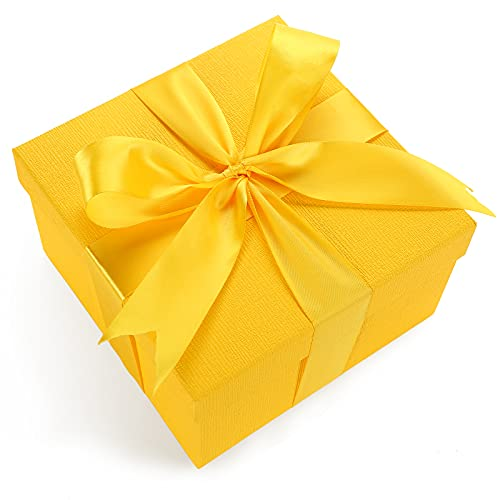 JOHOUSE Gift Box, 7.5 inches Yellow Gift Box, with Cover Ribbon and Lafite for Wedding, Christmas Gifts, Valentines Day