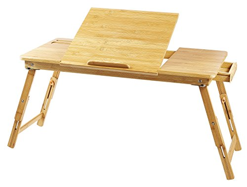 Large Breakfast - Large Lap Desk Ucharge Portable Adjustable  Bamboo Laptop Desk Table Breakfast Serving Bed Tray with Tilting Lockable Legs Top Drawer