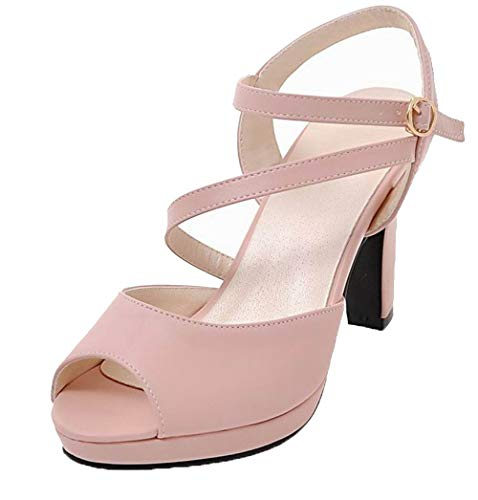 VogueZone009 Women Pu Buckle Open-Toe High-Heels Solid Sandals, CCALP015387 Pink