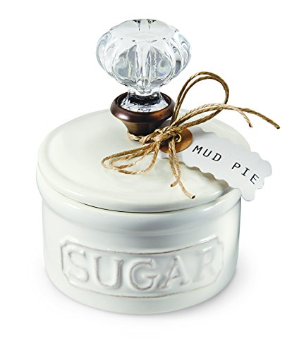 Mud Pie Door Knob Sugar Bowl, White - Canister Texas Star Kitchen