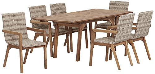 Vancouver Natural Wood and Wicker 7-Piece Outdoor Dining Set -