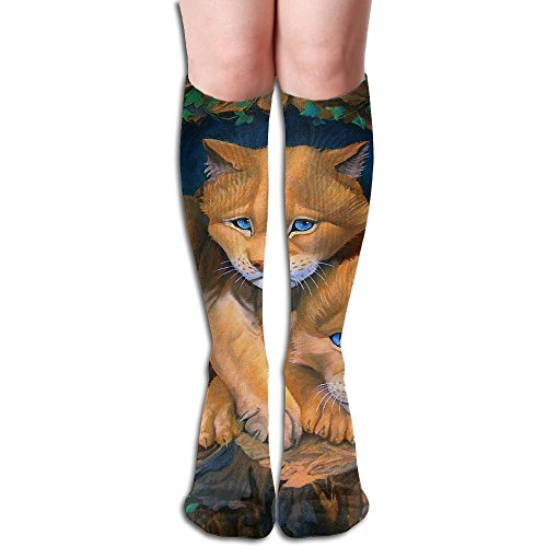 Long Stocking Cats Cougar Cubs Paintings Women's Over Knee Thigh Winter Warm Sexy Stocks Knitting -