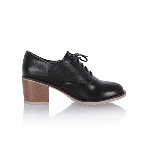 Show Shine Womens Fashion Chunky Heel Oxfords Shoes Ankle Boots Black BVadf