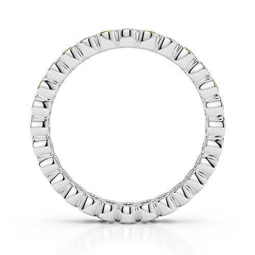 Or blanc 18 carats 0,38 CT G-H/VS sertie de diamants ronds Cut Péridot et éternité Bague Agdr-1099