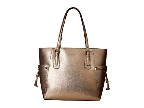 Michael Kors Voyager East West Crossgrain Metallic Leather Tote, Pale Gold