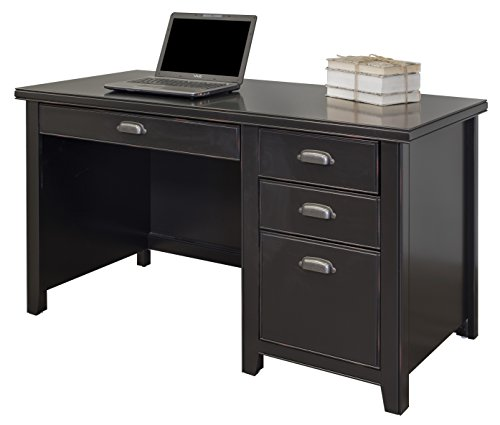 Martin Furniture  Kathy Ireland Tribeca Loft Black Single Pedestal Desk - Kathy Ireland Tribeca Loft
