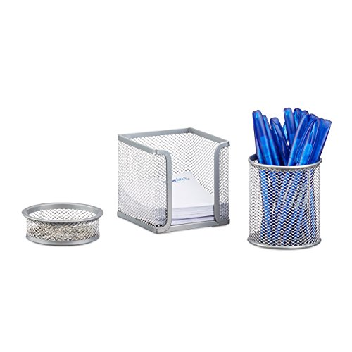 Relaxdays 3-Piece Metal Stationery Desk Organizer, Mesh, Note Box, Pen Holder and Paperclip Tray, Silver ()