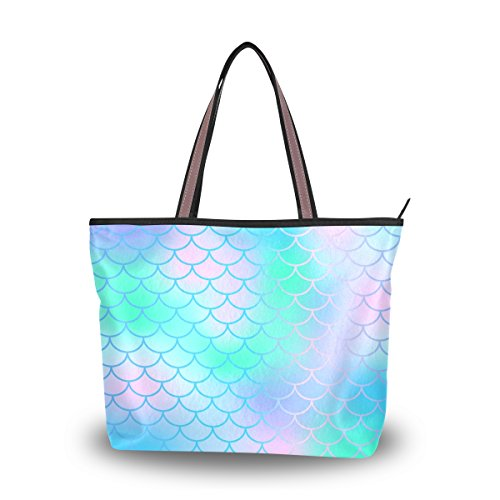 Women Tote Bag Large Handbag Candy Color Magic Mermaid Fish Scale Pattern Shopping Travel Shoulder Bag