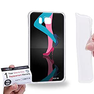 Case88 [Samsung Galaxy Alpha] Gel TPU Carcasa/Funda & Tarjeta de garantía - Art Hand Drawing Cyan and Pink High Heels B 2147