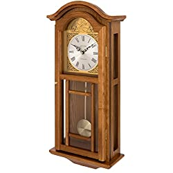 Fox and Simpson Oak Colored Wood Penulum Wall Clock with Westminster Chimes
