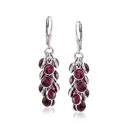 (Ross-Simons 19.00 ct. t.w. Bezel-Set Rhodolite Garnet Cluster Drop Earrings in Sterling Silver)