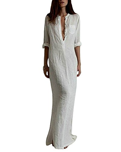 Romacci Women Shirt Dress Long Button-Down Shirts Blouse Dress Retro Casual Long Sleeve Maxi Loose Fit White