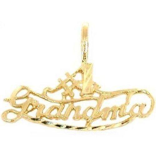 1 Grandmother Charm - 14K Yellow Gold #1 Grandma Charm Pendant