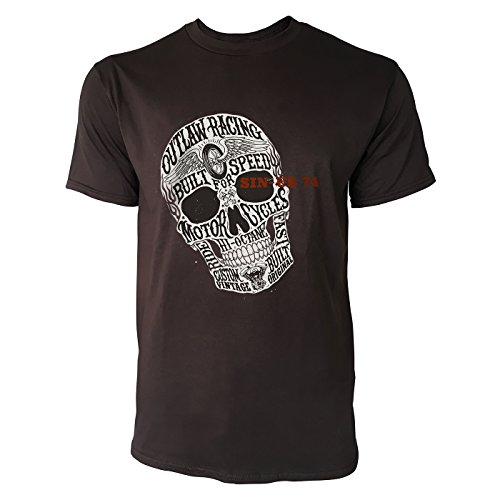 SINUS ART® Totenkopf mit Aufschrift im Vintage Stil Herren T-Shirts in Schokolade braun Fun Shirt mit tollen Aufdruck