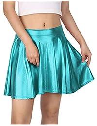 HDE-Plus tamaño Brillante líquido Skater Falda metálico Wet Look Falda Plisada de La Mujer