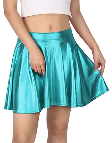 HDE Women's Solid Color Metallic Flared Pleated Club Skater Skirt (Teal, Medium)