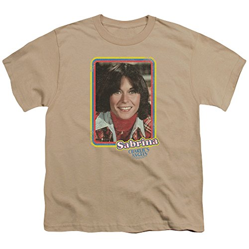 Charlies Angels Sabrina Portrait Unisex Youth T Shirt for Boys and Girls, X-Large Sand
