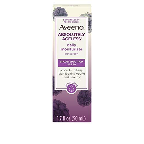 Aveeno Absolutely Ageless Daily Facial Moisturizer with Broad Spectrum SPF 30 Sunscreen, Antioxidant-Rich Blackberry Complex, Vitamins C & E, Hypoallergenic, Non-Comedogenic & Oil-Free, 1.7 fl. oz (Aveeno Facial Moisturizer Spf 30)