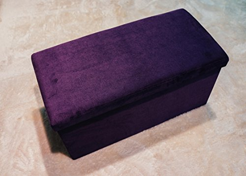 "Ointime Storage Strong and Sturdy Ottoman Bench Corduroy Foldable Waterproof Quick and Easy Assembly Purple Footstool 30x15x15"" Toy and Shoe Chest Versatial Space-Saving"
