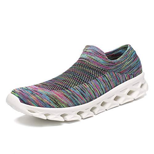 - RAYDESTINN Socks Walking Shoes Women Men - Fashion Causal Lightweight Breathable Mesh Slip On Running Sneakers Cyan-Blue