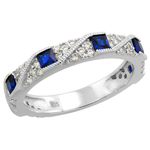 Sterling Silver Art Deco Half Eternity Ring Synthetic Square Blue Sapphires & CZ stones 1/8 inch size (Sapphire Art Deco Ring)