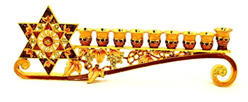 Decorative Pewter Menorah - Ciel Collectables Decorative Menorah with Star of David, Hand Set Swarovski Crystal, Hand Painted Orange Enamel Over Solid Pewter Base, It Holds 9 Small Candles, L 9.50 x H 3.00