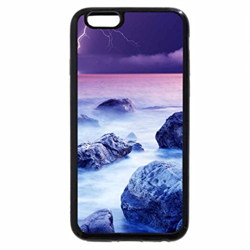 iPhone 6S / iPhone 6 Case (Black) Lightning in Violet Sky