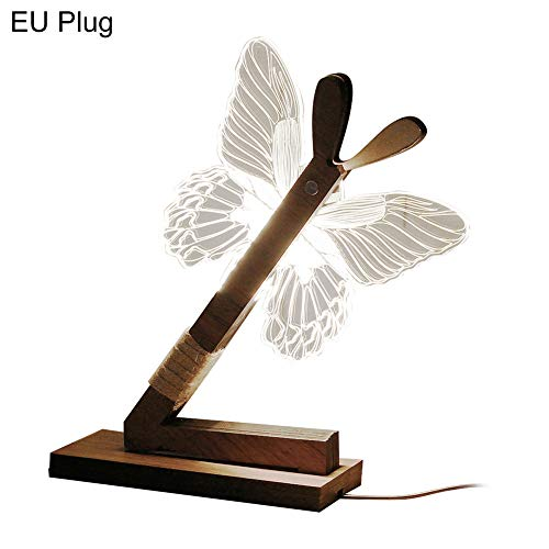 LED Night Light Kekailu, Creative 3D Butterfly Home Bedroom Desk Table Lamp Decor Gift - EU Plug A ()