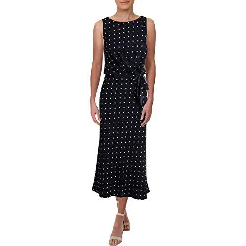 LAUREN RALPH LAUREN Womens Polka Dot Sleeveless Midi Dress Navy 10