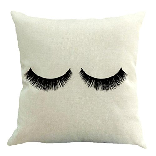 "Sothread Eyelash Throw Pillowcase Decorative Cotton Linen Creative Cushion Cover 18""X18"" (A)"