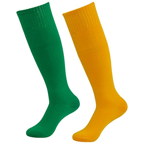 - Fasoar Men's Women's Knee High Volleyball Football Soccer Sports Tube Socks Soccer Hosiery Pack of 2 Green Orange  2 pack green orange  One Size