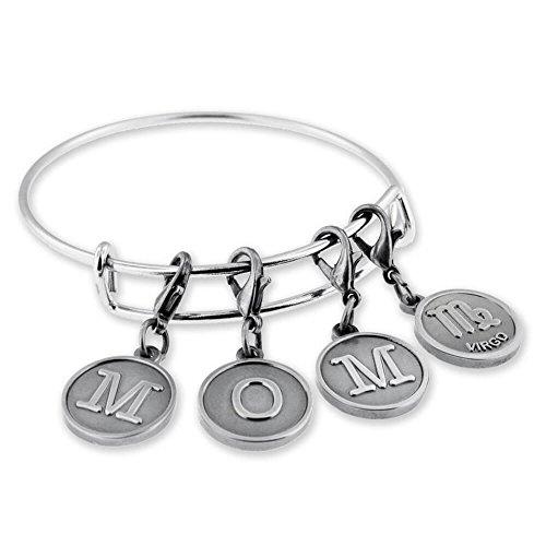 PinMart's MOM Virgo Zodiac Charm Expandable Wire Bangle Bracelet Bundle Gift Set