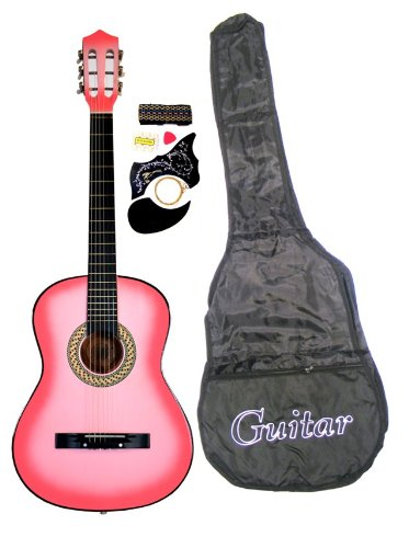 38'' PINK Acoustic Guitar Starters Beginner Package, Guitars, Gig Bag, Strap, Pitch Pipe Tuner, 2 Pick Guards, Extra String & DirectlyCheap Pick (PK-AG38) [Teacher Approved] by Directly Cheap