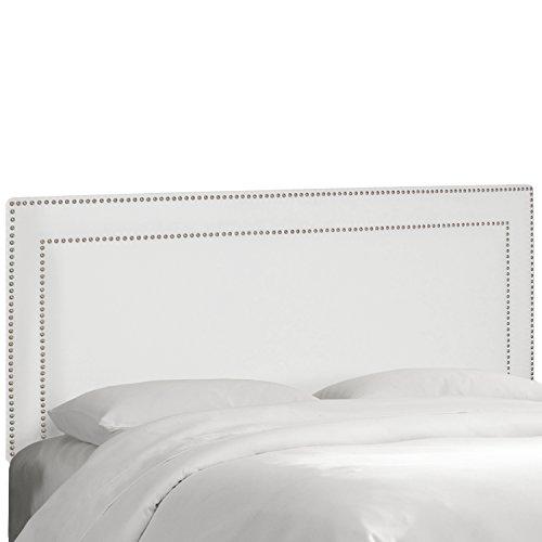 Skyline Furniture Nail Button Premier Border Headboard, White, Queen