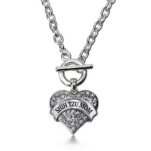 Inspired Silver Shih Tzu Mom Pave Heart Toggle Necklace Clear Crystal Rhinestones