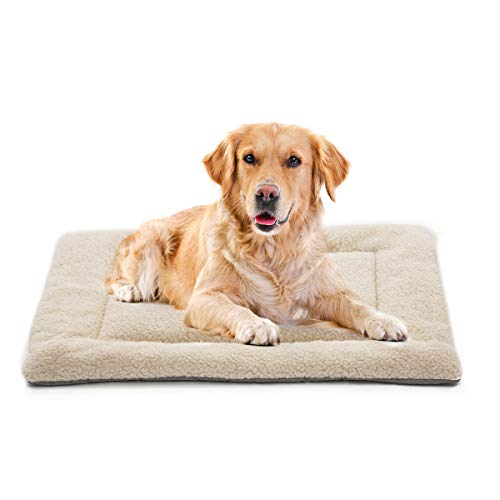 INVENHO Dog Bed Mat Comfortable Soft Crate Pad Anti-Slip Machine Washable Pad Dog Crate Pad Pet Bed for Dogs & Cats Beige 35