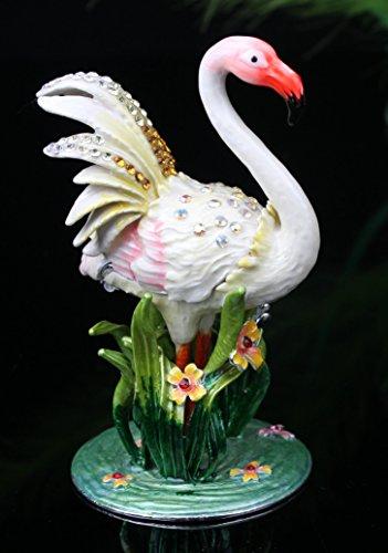 (Flamingo Jewelry Trinket Box Bejeweled Flamingo Pewter Bejeweled Hinged Trinket / Jewelry BOX (White))