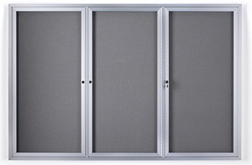 6' x 4' Enclosed Bulletin Board with Fabric Interior, 3 Separate Locking Swing-Open Doors, 72
