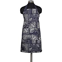 Kitchen Apron, 100% Cotton Apron for Women & Men, Printed Navy Apron with Adjustable Bib and Pockets of Size 30 X 35 Inch