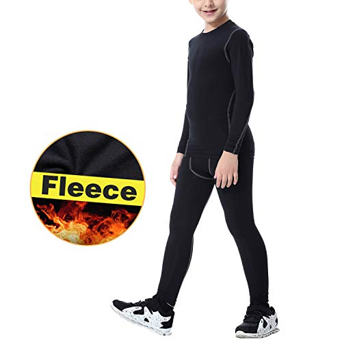 TERODACO Kids Compression Shirts and Pant 2 Pcs Thermal Underwear Set Base Layer -
